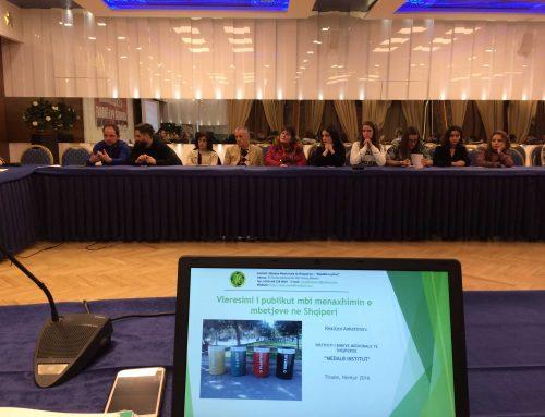 """Publikimi i statistikave mbi anketimin: """"Vleresimi i Publikut mbi Menaxhimin e Mbetjeve ne Shqiperi"""""""